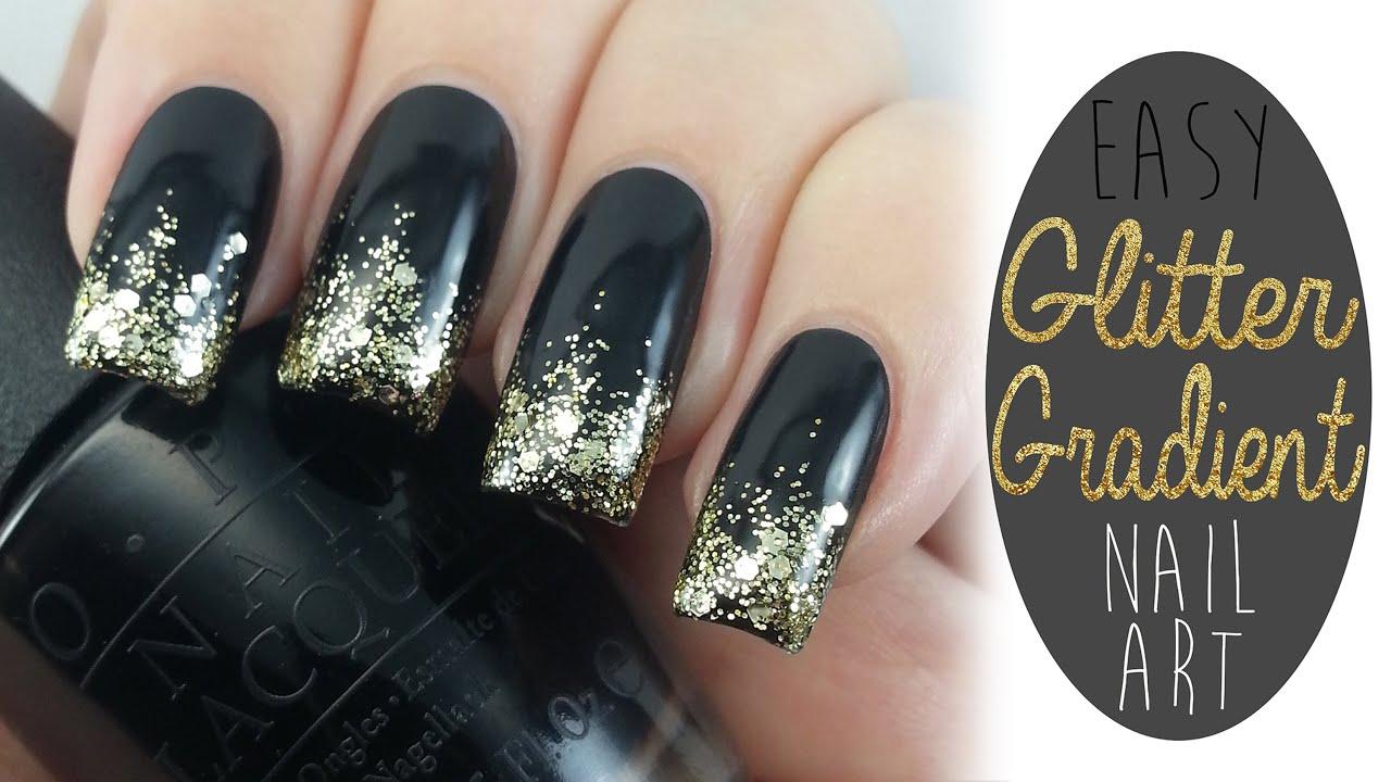 easy glitter gradient nail art