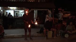 Fire juggling clubs in Vama Veche