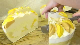 Cutting My New Lemon Lush Creme Silk Soap Cake By Edens Secret