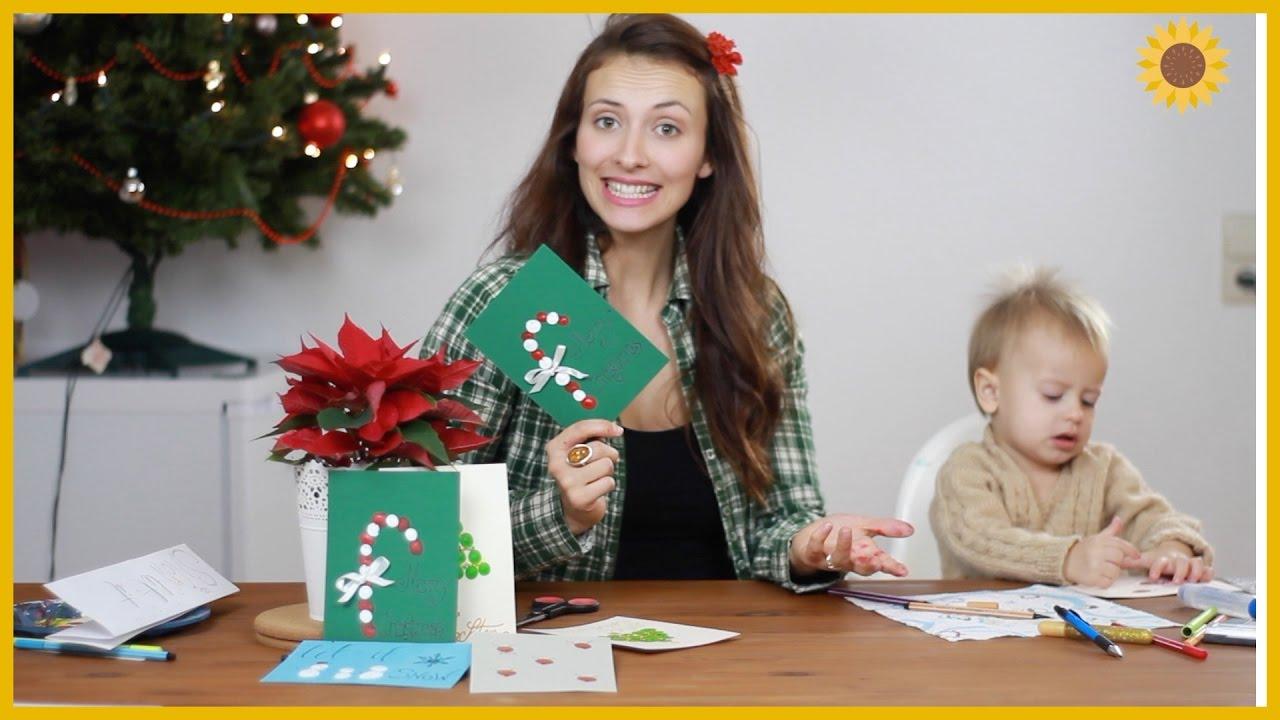 Fingerfarbe Weihnachten.Weihnachtskarten Mit Fingerfarben Basteln Handmade Christmas Cards With Finger Paint