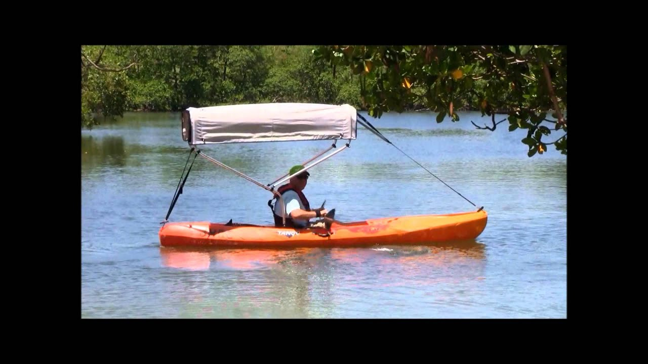Kayak With 2 Bow Bimini Top Shade Installed Youtube