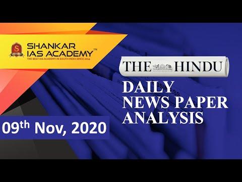 The Hindu Daily News Analysis || 09th November 2020 || UPSC Current Affairs || Prelims 21 & Mains 20
