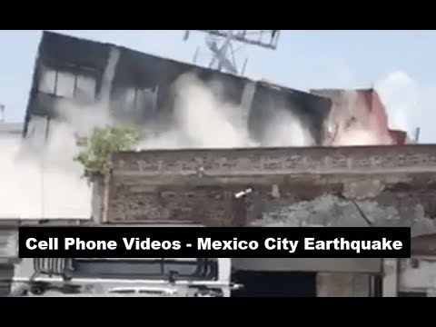 Mexico Earthquake - 8 Real Time Cell Phone Videos ; 9/19/17
