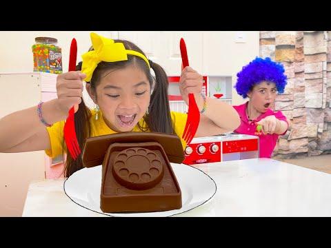 Emma Pretend Play Real vs Fake Chocolate Food Challenge   Cooking Chocolates Food Toys