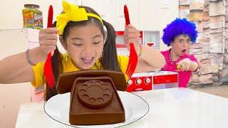 Emma Pretend Play Real vs Fake Chocolate Food Challenge | Cooking Chocolates Food Toys