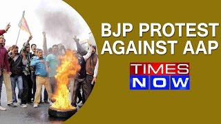 BJP MLAs protest against AAP government