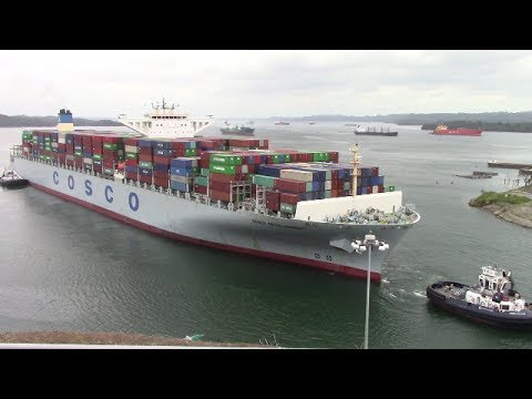 Largest Ship to Ever Transit the Panama Canal! COSCO DEVELOPMENT at Agua Clara Locks (May 2, 2017)