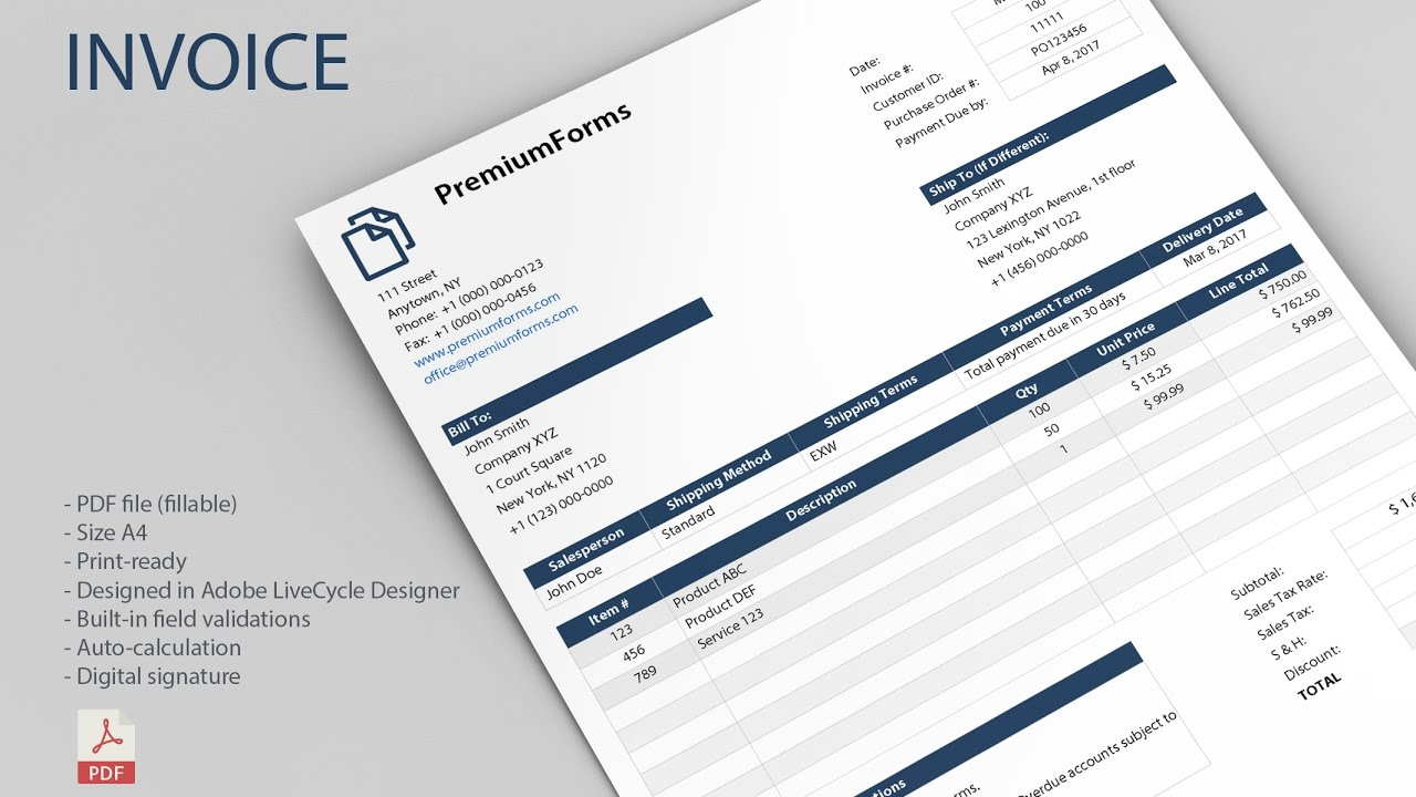 Smart Invoice Fillable PDF YouTube - Fillable pdf invoice