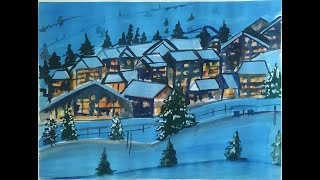Snow Mountain Village Watercolor Painting