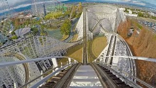 White Cyclone Wooden Roller Coaster Front Seat POV Nagashima Spaland Japan 60FPS