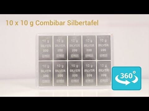 100 Gramm (10 x 10 Gramm) Silbertafel / Combibar in 360° Ansicht
