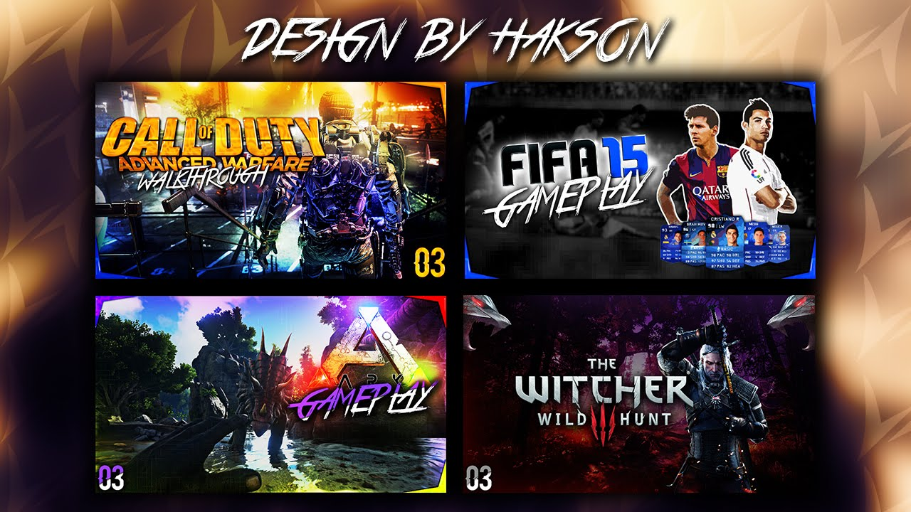 free gaming thumbnail pack template psd by hakson youtube
