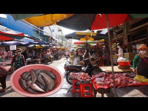 Morning Food Market During Lockdown Town 14 Days - Walking Around Phsa Touch Market @ Toul Sangke