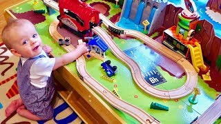 🚂 BABY'S FIRST TOY TRAIN TABLE! 🚂 Grand Central Station and Waterfall Mountain!