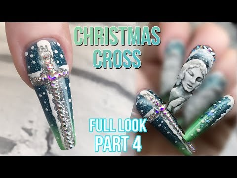 Christmas Nail Design  - Full Look Part 4 - Blingy Crucifix with Textured Snow - Cut Out Technique