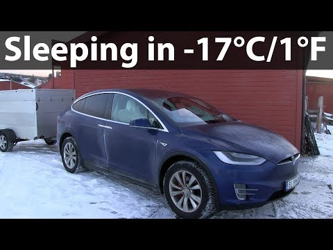 Sleeping in Tesla Model X in -17°C/1°F
