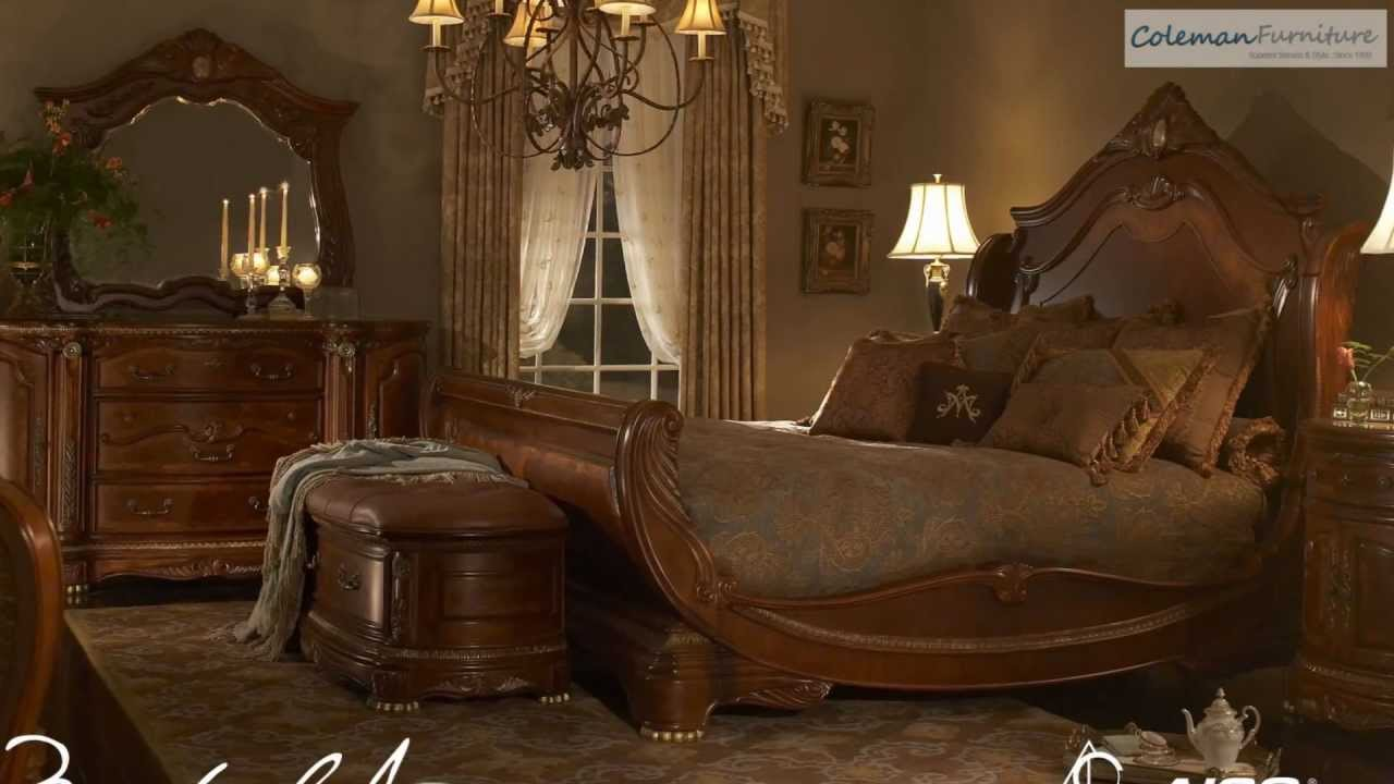 Cortina Sleigh Bedroom Collection From Aico Furniture - YouTube