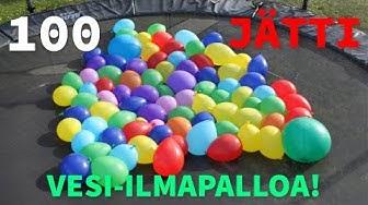 100 Jätti vesi-ilmapalloa Trampalla!