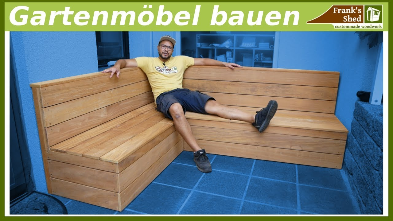 gartenm bel aus holz bauen sitzbank f r terrasse selber bauen diy youtube. Black Bedroom Furniture Sets. Home Design Ideas
