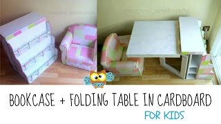 DIY Cardboard bookcase & folding table for children