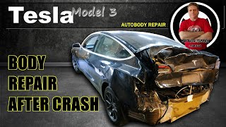 Tesla Model 3. The body repair. Ремонт кузова.