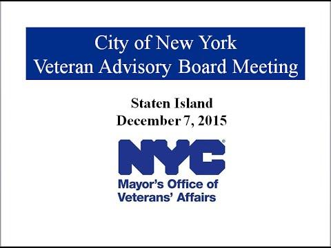 City of New York Veteran Advisory Board Meeting 12.07.15