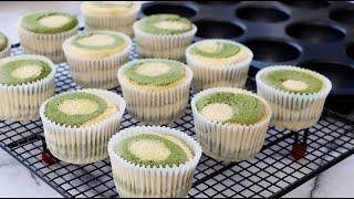Super Soft & Fluffy Zebra Cupcake - Matcha Green Tea