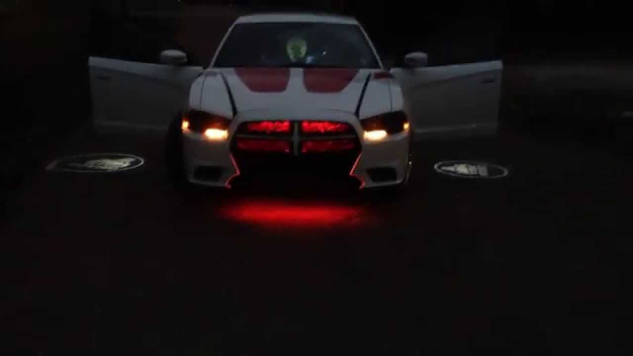 Dodge charger on 24 39 s with underglow grill lights door projectors reflective vinyl and halo - Underglow neon ...