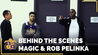 behind the scenes magic johnson and rob pelinka meet with players raw footage