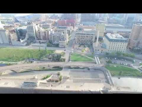Aerial footage of Saint Anthony falls, Minneapolis, MN
