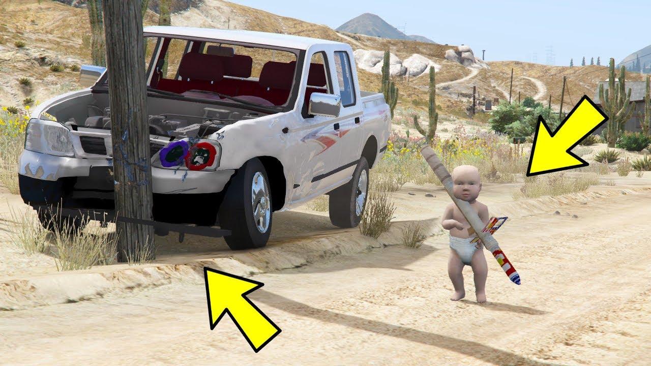 الطفل المجنون   دمر السياره وراح يلعب بالبقر  لايفوتك ضحك قراند 5 GTA V Humorous