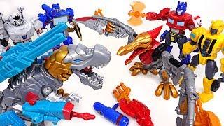 Transformers hero Mashers dinosaur dinobot and Bumblebee, Optimus Prime appeared! - DuDuPopTOY