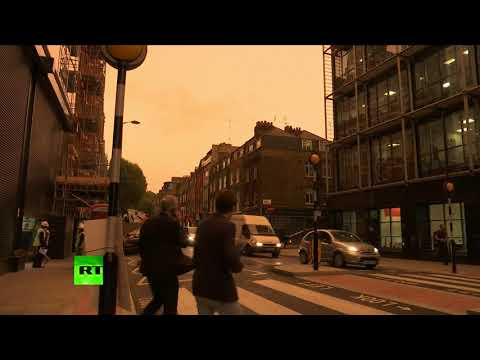 Impending doom? Skies over London turn murky orange as Storm Ophelia hits British Isles