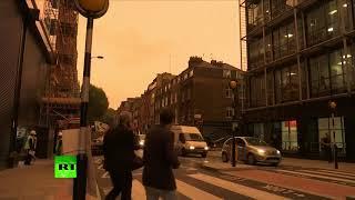 Impending doom? Skies over London turn murky orange as Storm Ophelia hits British Isles