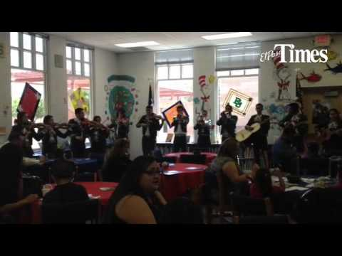 Montwood High School mariachis perform at the Bill Sybert School for the new WIN Academy program lau