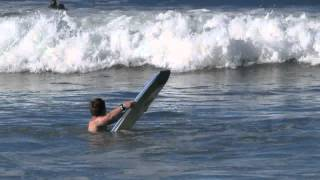 Liam Tufnell boogie boarding in Mission Beach California