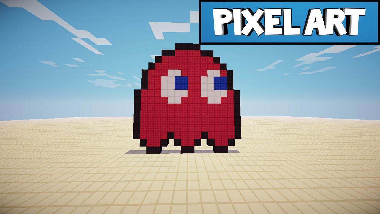 Minecraft: Pixel Art | Ep.2 - Pacman Ghost - YouTube  Minecraft: Pixe...