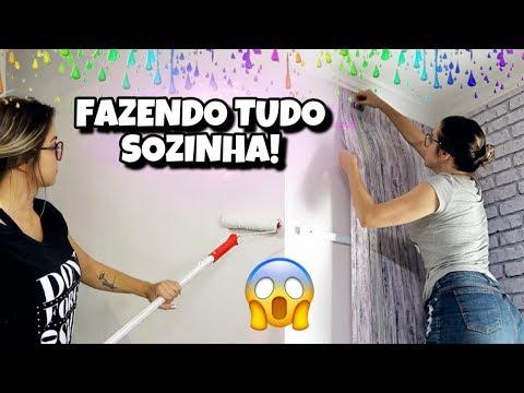 REFORMA DO QUARTO #2 - Aplicando papel de parede sozinha 😱
