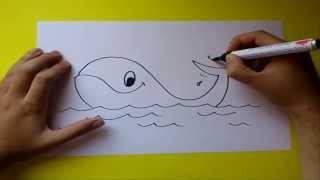 Como dibujar una ballena paso a paso | How to draw a whale