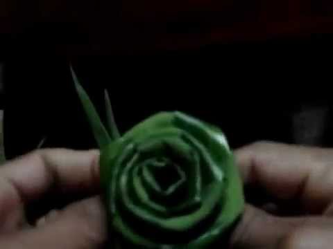 xếp lá dừa hình hoa hồng 2