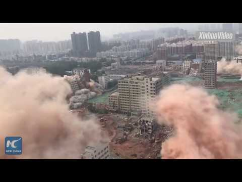 China demuele 36 edificios en 20 segundos