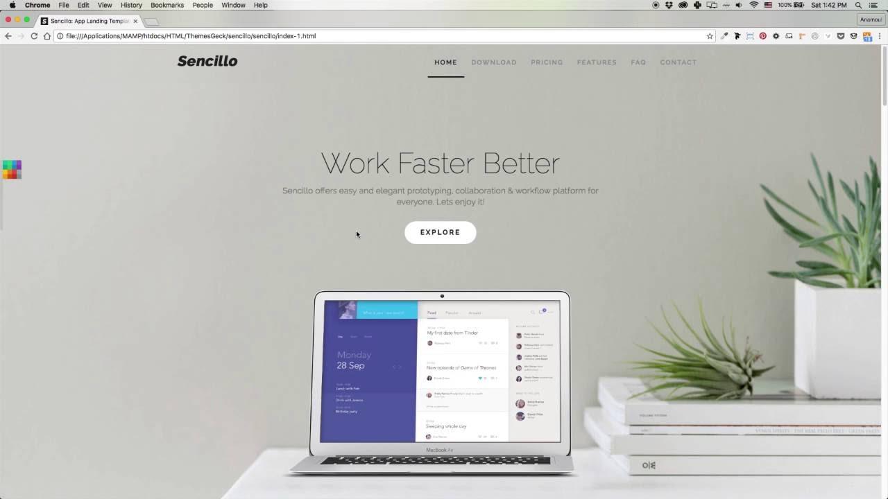 Sencillo – Multi-purpose Responsive Landing Page Template - YouTube