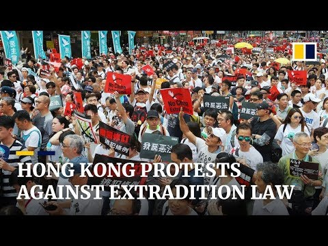 Thousands march through Hong Kong to protest extradition law