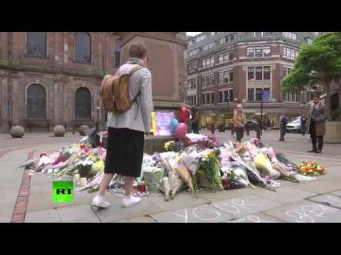 Floral tributes laid out to #Manchester victims