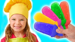 Nicole and Misha pretend play cooking fruit ice cream