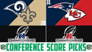 NFL AFC & NFC Championship SCORE PREDICTIONS - NFL Picks Against the Spread (Playoff Picks 2019)