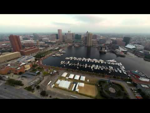 Aerial view of Federal Hill in Baltimore, MD