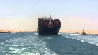 مصر تبهر العالم :عبور أول سفينة فى قناة السفينة بقناة السويس الجديدة 25يونيو2015