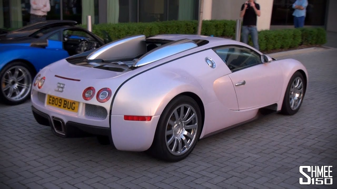 pink bugatti veyron arrival convoy and drag races youtube. Black Bedroom Furniture Sets. Home Design Ideas