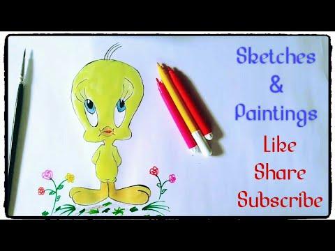 How To Draw Tweety Bird Cartoons Painting Tutorial Simple Easy Step
